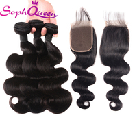 Soph Queen Hair Virgin Hair Bundles With Closure Brazilian Body Wave Hair Weave Bundles With Closure Hair Extension Nature Color