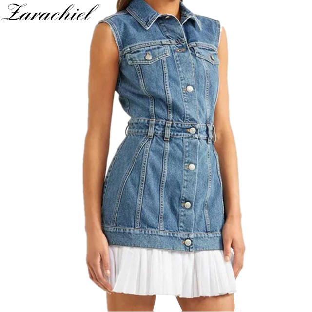 6f4a0f2049 New Fashion 2018 Summer Sexy Sleeveless Denim Dress Casual Single-Breasted  Chiffon Patchwork Pleated Dress Women Tank Jean Dress