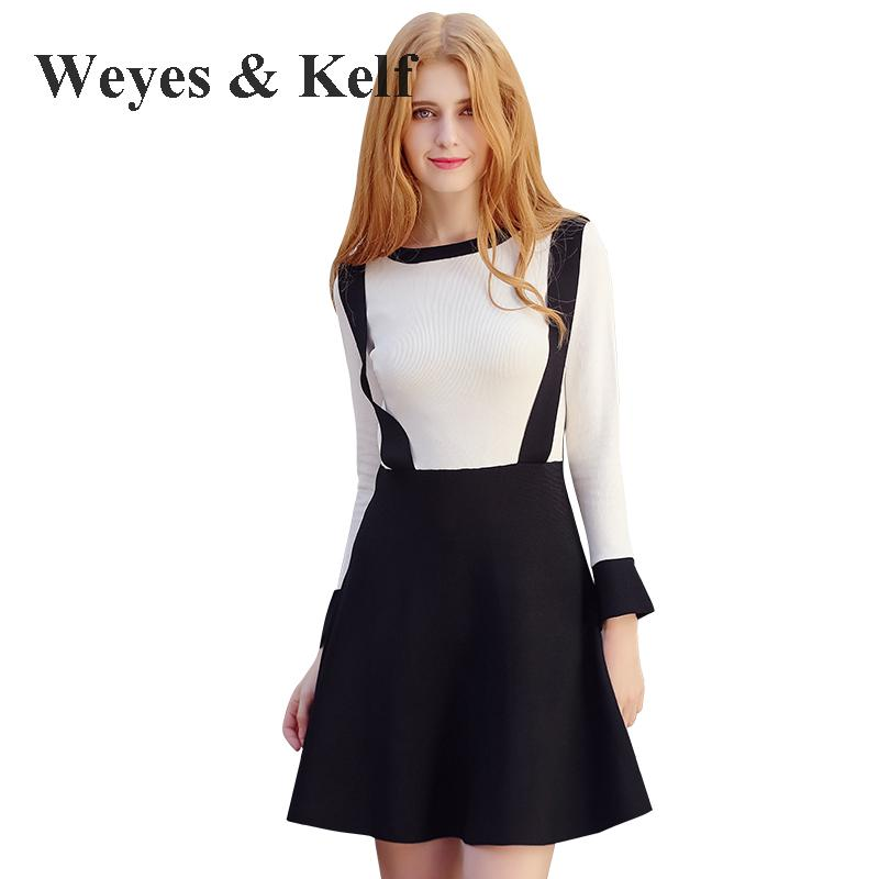 Weyes & Kelf Winter O-neck Long Sleeve Knitted Dress Women 2017 Autumn Casual Mini Blue/white Warm Winter Womens Party Dresses dark blue round neck plaid womens long sleeve dress