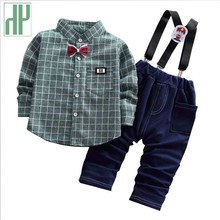 Kid clothes 2019 Gentleman Style Infant Coats T Shirt Pants 2pcs Outfit Grid Boys Clothing Sets childrens clothing 1 2 4 Year