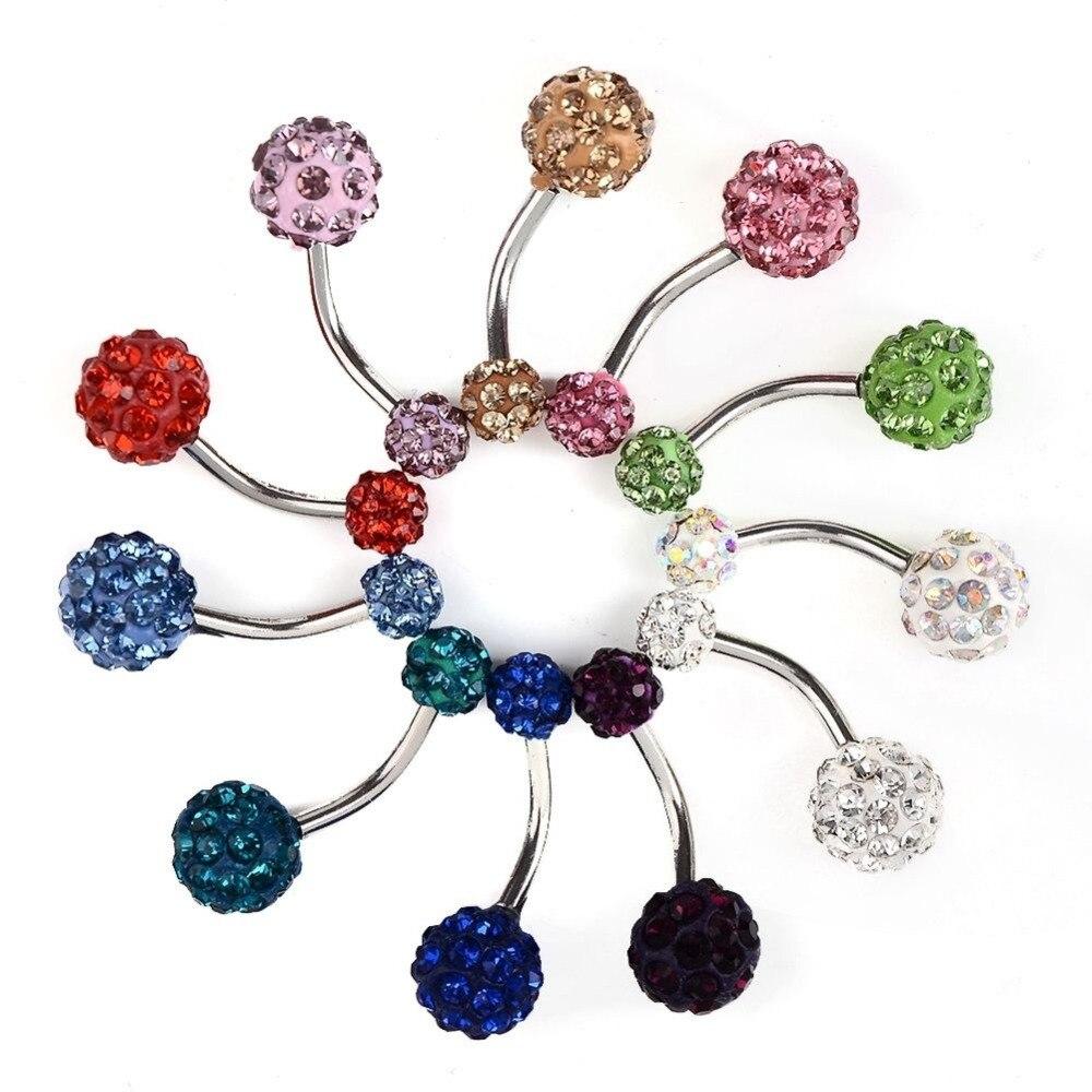 Fashion Women Rhinetones Button Rings Belly Piercing Navel Bars Body Jewelry