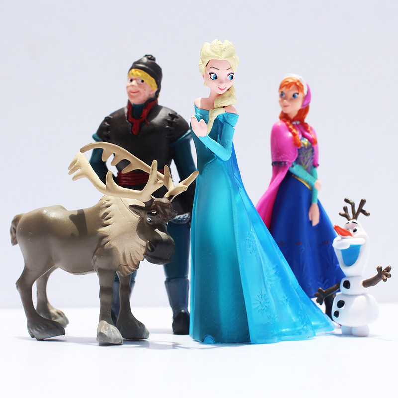 5 Pcs/Set Snow Queen Princess Anna Elsa Action Figure Kristoff Sven Olaf PVC Model Dolls Collection Birthday Gift Kids Toys 13pcs set snow queen elsa anna princess dress girl toys play house dress up kids toys action figures for new year gift s50