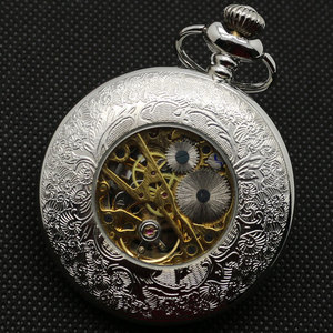 Image 4 - Half Hunter Silver Vintage Mechaincal Hand Wind Pocket Watch Set Fob Chains Best Gift for Men Women
