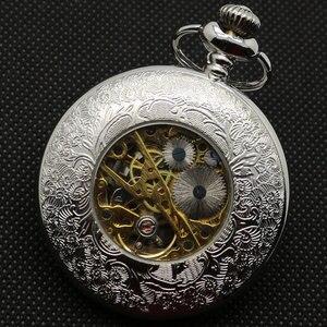 Image 4 - Reloj de bolsillo de cuerda a mano de medio cazador de plata Vintage con cadena Fob, el mejor regalo para hombres y mujeres
