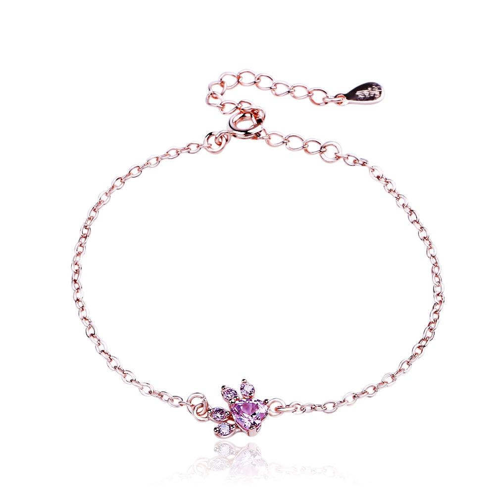 Cute Bear Paw Dog Cat Claw Rose Gold Bracelets For Women Romantic Wedding Pink Cz Love Footprint Bracelets Limpid In Sight