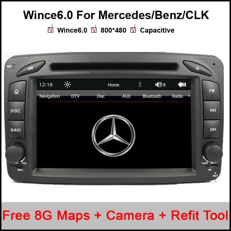 Lecteur DVD de voiture 2 Din 7 pouces pour Mercedes/Benz/CLK/W209/W203/W168/W208/W463/W170/Vaneo/Viano/Vito/E210/C208 Canbus FM GPS carte BT