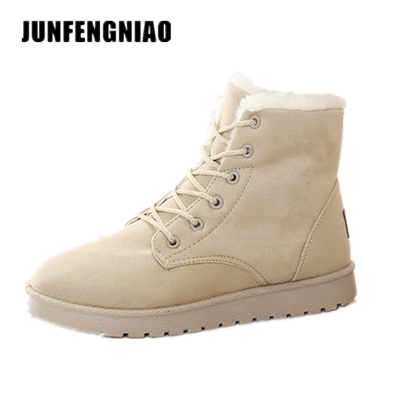 Dongnanfeng Hot Fashion Women Shoes Boots Flats Snow Rain Winter Plush Fur Ankle Keep Warm Lace Up Faux Suede Superstar WDN-6868 new arrivals bandage shoes woman winter women boots fur plush lace up snow boots ankle boots