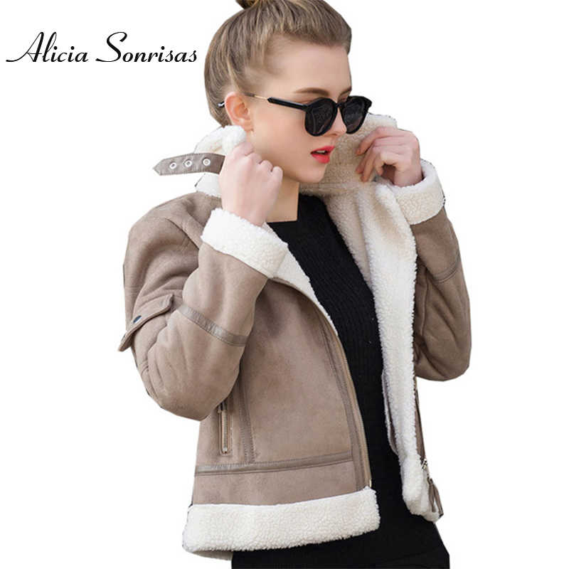 2019 Faux Shearling Sheepskin Coat Women Leather Thick Suede Jacket Women Autumn Winter Lambs Wool Short Motorcycle Coats UV3001