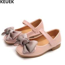 حذاء أطفال جديد للربيع والخريف حذاء بناتي من الجلد حاصل على براءة اختراع حذاء أطفال بنسيج فيونكة مناسب للأميرة حذاء مسطح بنسيج شبكي يسمح بمرور الهواء طراز رقم 019