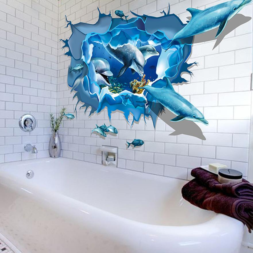 Removable Blue Sea Cute Dolphin 3D Sea Ocean Stickers Wall Decal Mural DIY  Decor Kid Bedroom Bathroom Decor 60x90cm FEB16