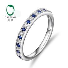Caimao Jewelry 14K White Gold 0.14ct Sapphire & 0.10ct Diamonds Engagement Wedding Band Free shipping