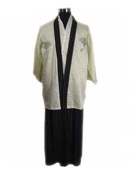 Livraison gratuite Kimono guerrier Vintage japonais en Polyester satiné pour hommes Yukata Haori taille unique B-0001a