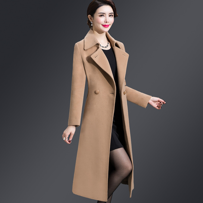 Plus ขนาด 4XL Casual สตรีเสื้อ 2019 ฤดูใบไม้ร่วงฤดูหนาวเดียวกว้างเอวคอเอวหญิงผสมผ้าขนสัตว์-ใน ขนสัตว์และขนสัตว์ผสม จาก เสื้อผ้าสตรี บน   2