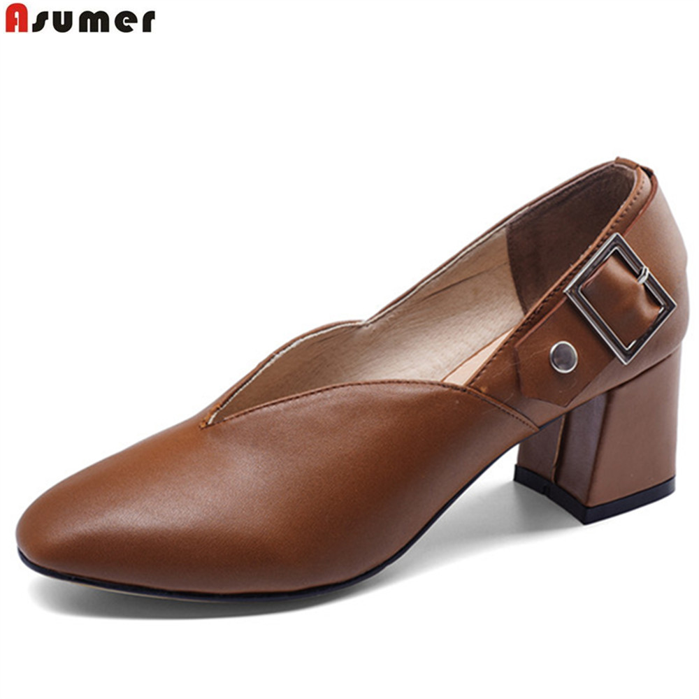 ASUMER black brown beige fashion spring autumn ladies shoes square toe square heel women genuine leather high heels shoes asumer black white fashion spring autumn ladies single shoes pointed toe square heel women genuine leather med heels shoes