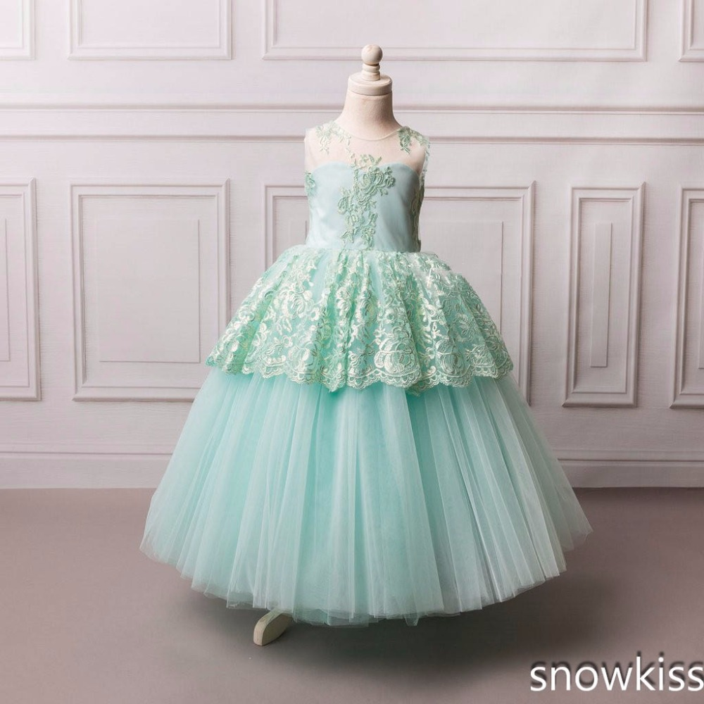 Mint flower girl dress lace appliques tulle sheer neck open back kids beauty pageant party dress with bow vestido infantil Cute lace yoke frill trim open back dress