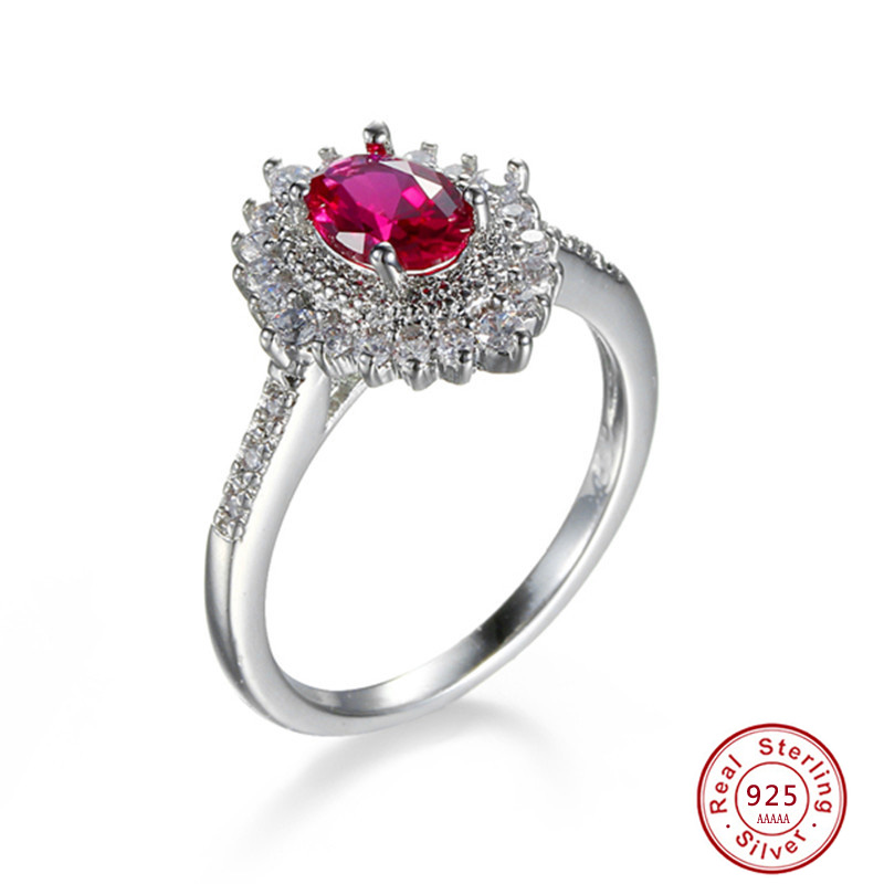Luxury 0.75 Carat Oval Cut 925 Sterling Silver Rings For Women rose red Stone Engagement S925 Ring Female Wedding Band