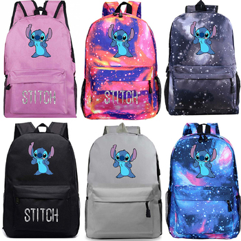 Cartoon Stitch Backpack Kids School Bags Galaxy Space For Women Men Casual Backpack Starry Night Laptop Travel Bags