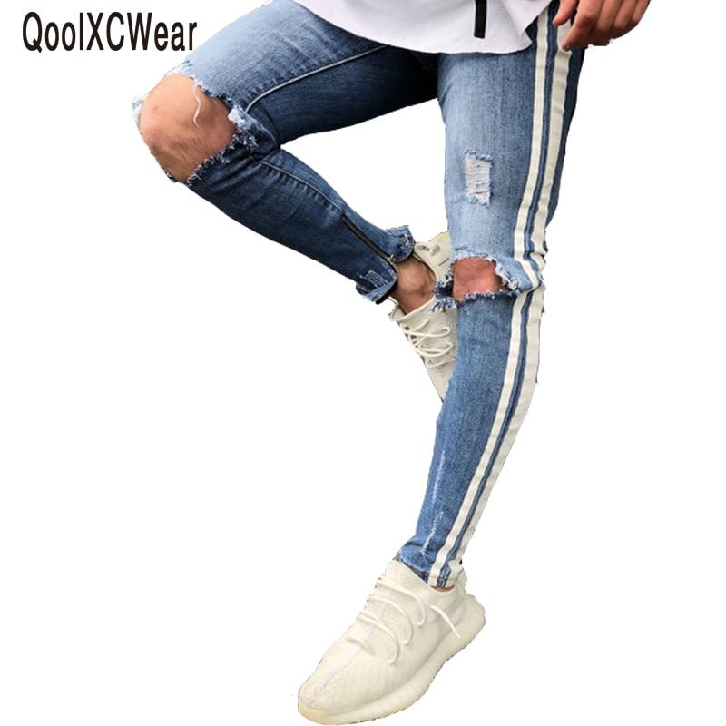 09295b8fe790 QoolXCWear Knie Loch Seite Zipper Dünne Distressed Jeans Männer Riss riss  bis streetwear hiphop Für Männer