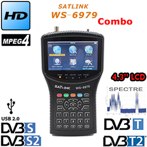 Satlink WS-6979 d'origine DVB-S2 et DVB-T2 MPEG4 HD COMBO + Spectre Compteur Satellite Finder ws-6950 hd sat finder ws6979 compteur