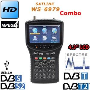Satlink WS-6979 originale DVB-S2 e DVB-T2 MPEG4 HD COMBO + Spettro Satellite Meter Finder ws-6950 hd sat finder misuratore di ws6979