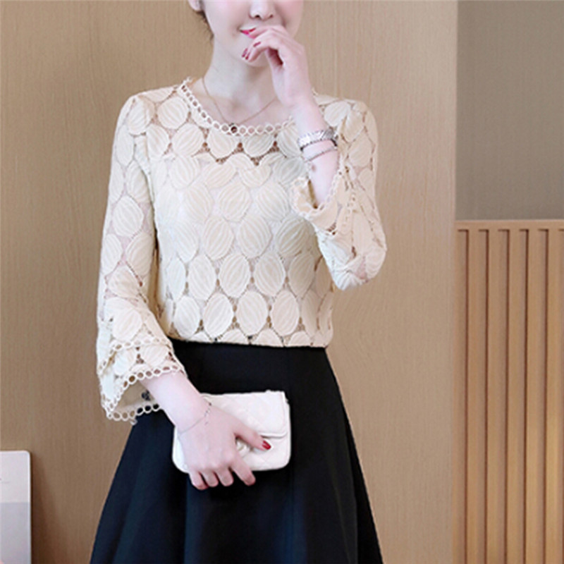 2018 New Autumn Loose Lace White Women Blouse Tops Long Sleeves Womenswear Casual Shirt Hollow Out Top