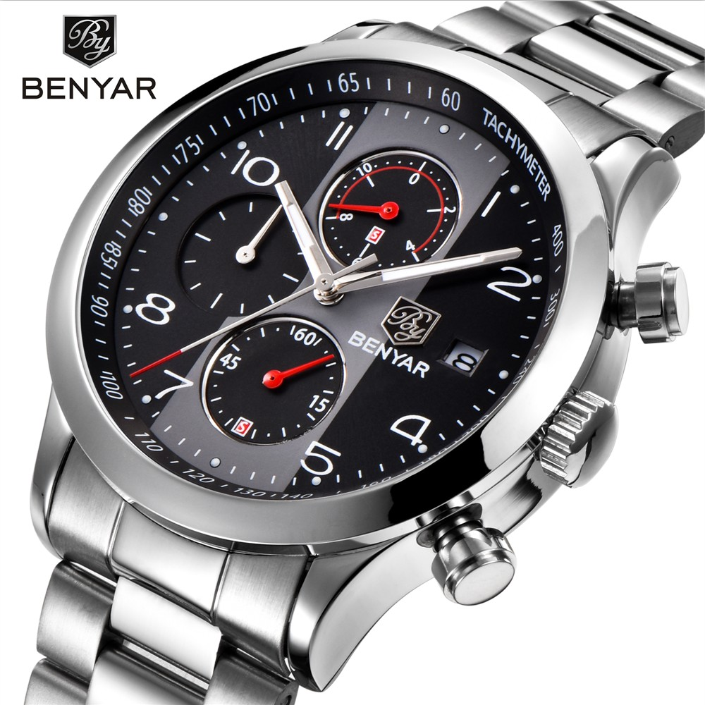 Benyar Stainless Steel Mens Watches Top Brand Luxury Business Quartz Watch Men Tachymeter 30M Waterproof Male Clock montre homme chenxi steel strap tachymeter quartz watch