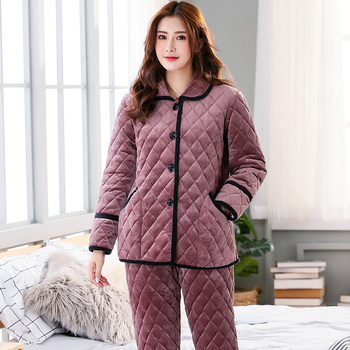Winter 3 layers quilted pajamas set women long-sleeve thick quilted jacket + pants coral velvet pyjamas women pijamas para mujer фото