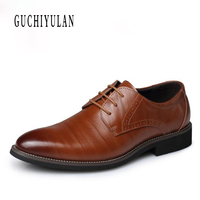 office shoes men Brand Classic Genuine Leather Men Whole Cut Plain Oxford Lace Up Wedding Party Man Brown Dress Shoes