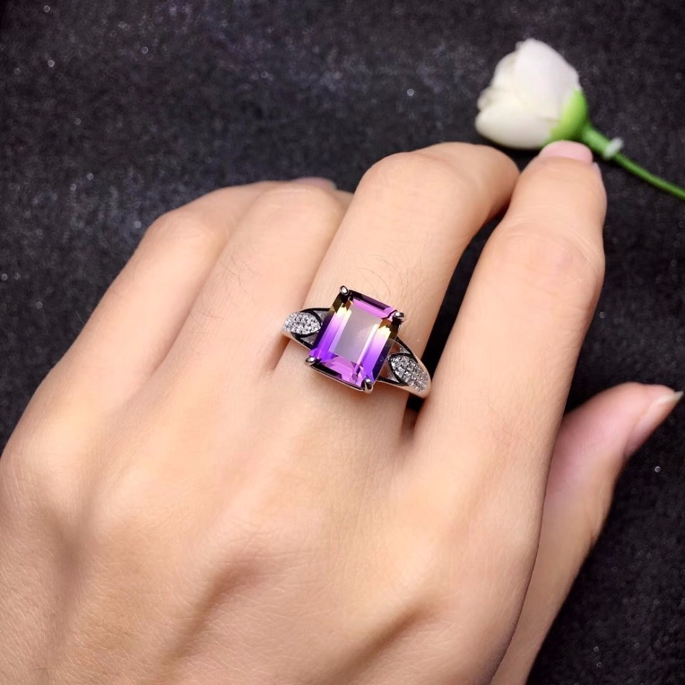HTB1byIFa42rK1RkSnhJq6ykdpXaP - Natural Amethyst Rectangle Rings for Women 925 Sterling Silver Fine Jewelry