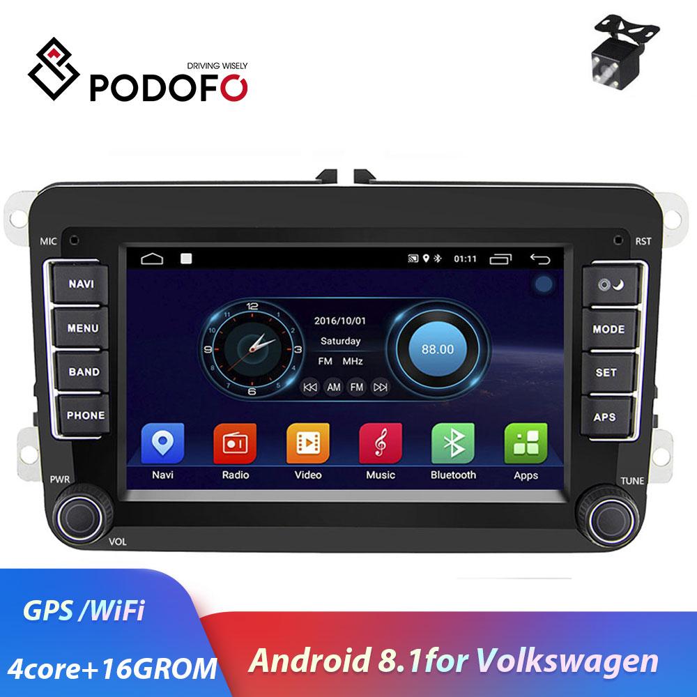 Podofo Android 8.1 2 din autoradio lecteur multimédia universel auto stéréo pour VW Volkswagen auto stéréo avec GPS carte WIFI radio