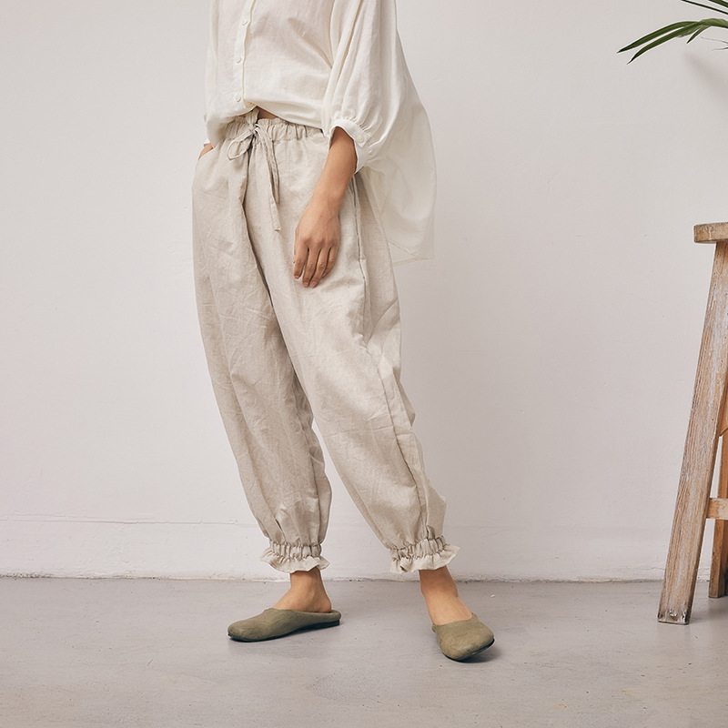 Spring Fashion Braced Ruffle Leg Cuff Loose Dense Cotton Linen Pencil Pants, Summer Beige Black Navy Blue Solid Colors Trousers