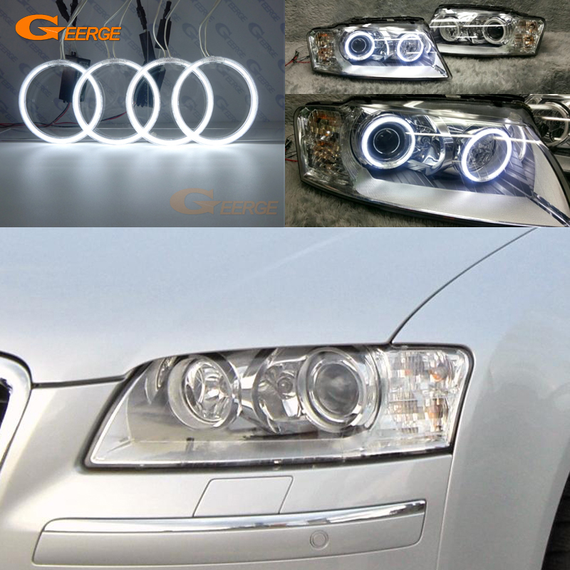 For Audi A8 S8 2004 2005 2006 2007 2008 2009 headlight Excellent Ultra bright illumination CCFL Angel Eyes kit halo rings for alfa romeo 147 2005 2006 2007 2008 2009 2010 headlight ultra bright illumination cob led angel eyes kit halo rings