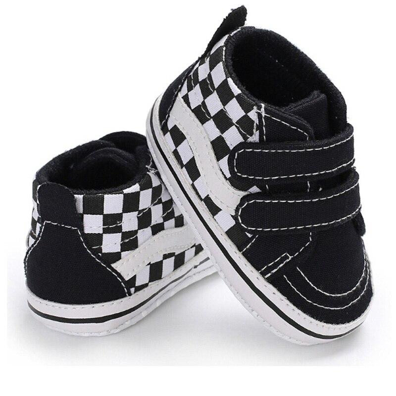 NEW 0-18 Months Toddler Infant Canvas Lattice Anti Slip Newborn Baby Boy Crib Shoes Fashion Casual Shoes