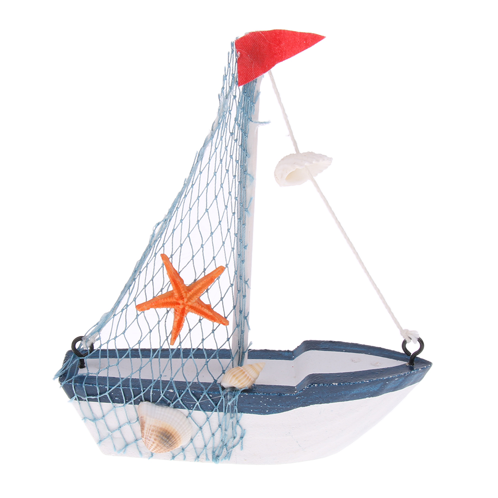 Retro Wooden Mediterranean Style Boat Model Nautical Decoration Game Collection Cards