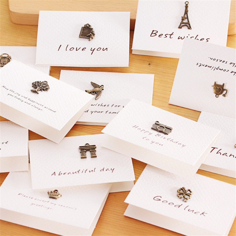 10pcs Vintage Greeting Card White Paper Copper Ornaments