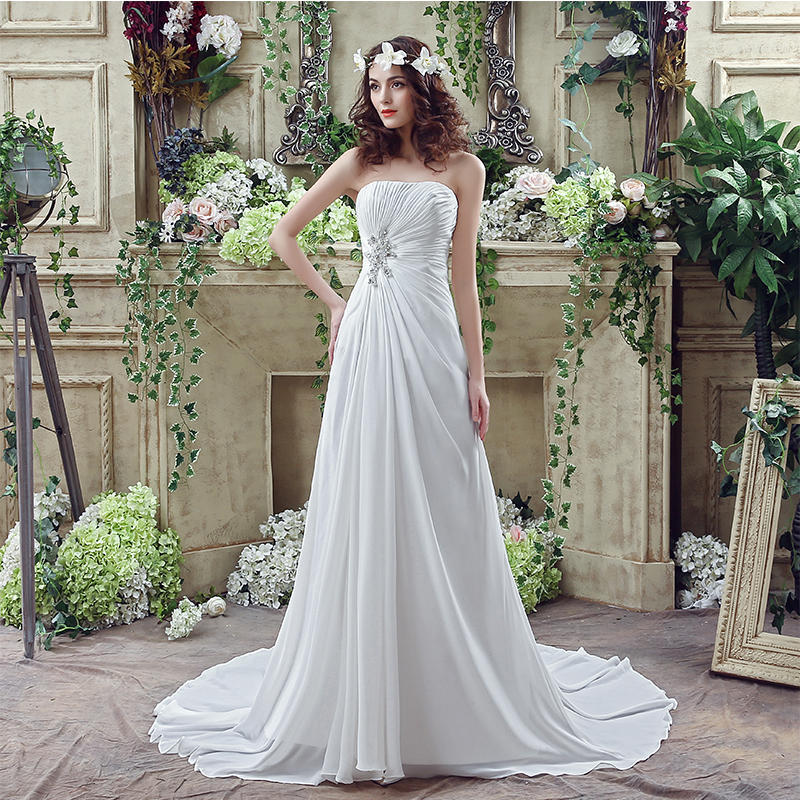 Romantic Chiffon Beach Wedding Dresses Strapless Pleats Draped Sweep Train Real Vestidos Baratos Cheap In Stock