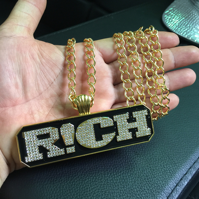 NYUK New Arrival Pendant Necklace Cool Letter RICH Pendants Hip Hop