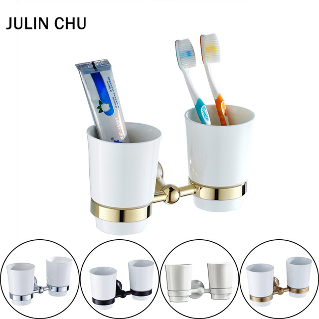 US $31 61 49% OFF|Gold Tooth Brush Holder Black Antique Bathroom Double  Toothpaste Ceramic Cup Holder Wall Mounted Bronze White Tumbler Rack  Brass-in