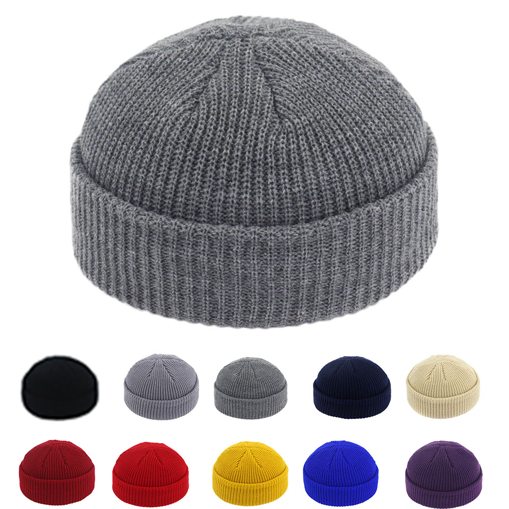 Brimless Hats Hip Hop Beanie Skullcap Street Knitted Hat Women Men Acrylic Unisex Casual Solid Pumpkin Portable Melon Cap(China)