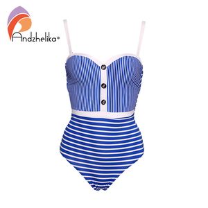 Image 4 - Andzhelika New Sexy Striped One Piece Swimsuit Women Bandeau Bathing Suit Summer Push Up Monokini Print Swim Suit Beach Wear Fem