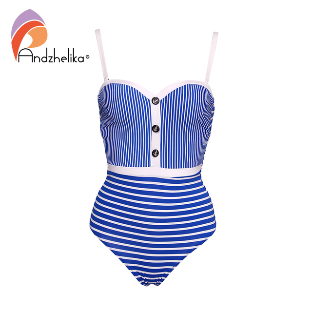Andzhelika Sexy White Striped Bandeau One Piece Swimsuit Women Push Up Bodysuit 2019 Summer Swimsuit Beach Bathing Suit Swimwear