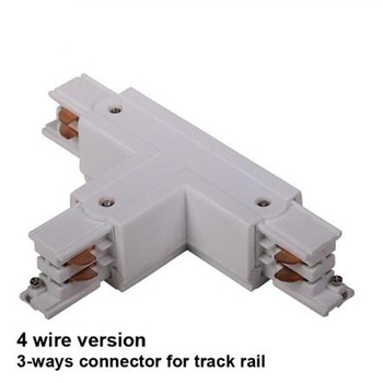 """Fanlive 10pcs/lot """"T"""" Track Rail Connector 4-wire 3 Loops Global Track System 3 Phase Circuit Three-way Connectors Rail Lighting"""