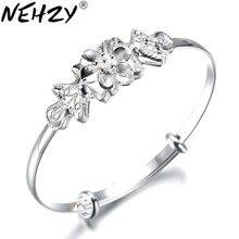 NEHZY 925 timbre en argent Sterling femme haute qualité bracelet mode fleurs ouverture nœud bracelet belle femme mode bijoux