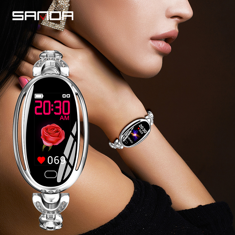SANDA E68 femmes nouvelle montre numérique intelligente ovale femme or Rose rappel d'appel de bijoux montres de fréquence cardiaque montre-bracelet de beauté en calories