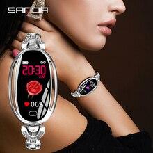 SANDA E68 נשים חדש סגלגל חכם דיגיטלי שעון נשי עלה זהב תכשיטי שיחת תזכורת לב שיעור שעונים קלוריות יופי שעוני יד