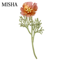 MISHA High Quality Poppies Flower Brooch For Women Pearl Brooches For Women Fashion Dress Flower Handmade Pins Ladies Gift 2095