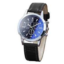 153f0197464f0 Men Watches Causal Blue Ray PU Leather Belt Sport Quartz Hour Wrist Analog  Watch relogio masculino