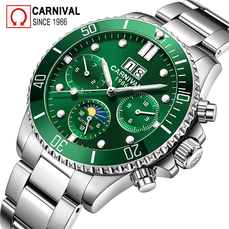 цена Carnival Sport Automatic Watch Men Diving Moon Phase Mens Mechanical Watches Military Clock Stainless Steel Wristwatch montre