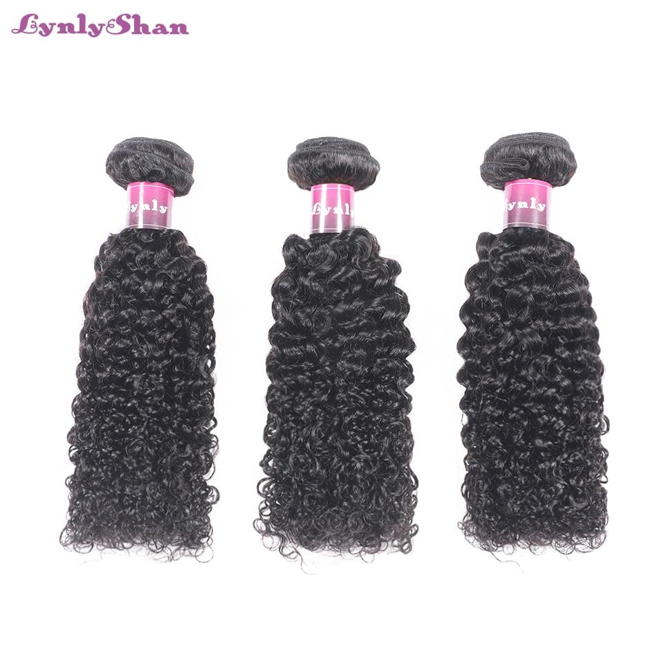 Lynlyshan Hair Kinky Curly  Hair Brazilian Curlyr Wave Bundles 100% Human Hair Bundles Remy Natural Color Black Bundles 3 Piece