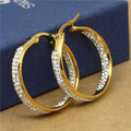 yellow gold plated rhinestones 2 sides Stainless steel hoop earrings circle round design woman  jewelry fashion beach wear 83798